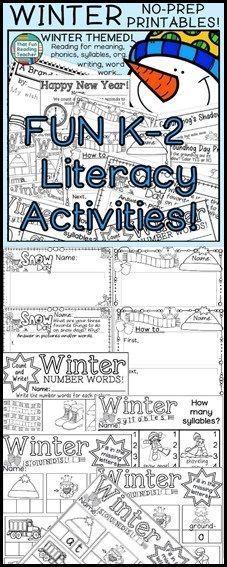 Fun, #NoPrep #Printable #WinterLiteracy activities for K-gr students! $