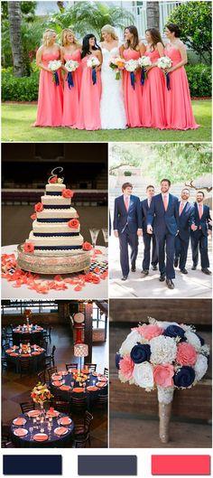 Nobleness and Eternity: Stunning Navy Blue Wedding Color Ideas Navy Blue and Coral Wedding Color Ide Coral Navy Weddings, Coral Wedding Colors, Summer Wedding Colors, Wedding Color Schemes, Summer Colors, Orange Weddings, Sapphire Blue Weddings, Trendy Wedding, Rustic Wedding