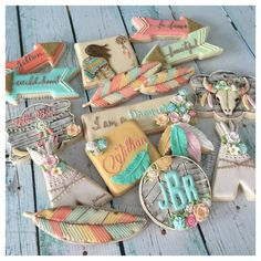 Here's part of Jillian's Boho Chic Birthday Cookie Collection Teepee inspired by Galletas Cookies, Iced Cookies, Cute Cookies, Royal Icing Cookies, Cupcake Cookies, Sugar Cookies, Frosted Cookies, Boho Chic, Boho Baby Shower