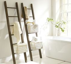 The Lucas Reclaimed Wood Bath Ladder Storage from Pottery Barn is a great multi-functional option to increase your bathroom functionality. Decor, Bathroom Ladder, House Bathroom, Interior, Small Bathroom Remodel, Home Decor, Ladder Towel Racks, Wood Bath, Ladder Storage