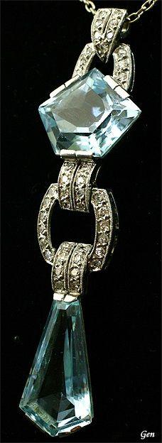 Vintage Jewelry 1920 Art Deco aquamarine necklace Aquamarine , Old European cut diamonds , platinum Length aquamarine on the × aquamarine under × Weight chain length France around 1920 Art Nouveau Jewelry, Jewelry Art, Antique Jewelry, Vintage Jewelry, Fine Jewelry, Jewelry Necklaces, Jewelry Design, Bracelets, Jewellery