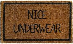 DIY: Freezer Paper Stenciled Doormat. Hilarious gag gift for someone who just bought a house/condo/apartment.