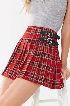 Women High Waist Pleated Check Short Skirts Tartan Plaid Skater Kilt Party Dress