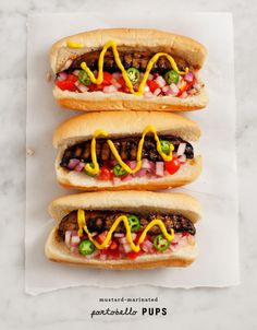Portabello Pups. A vegetarian friendly version of a cookout classic! From @loveandlemons #FrenchsMixology