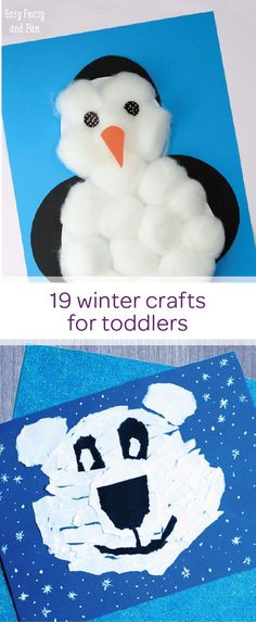 The winter fun isn't over yet! Check out this collection of easy DIY winter craft ideas for your creative toddler. These simple projects are quick to make and use large craft supplies, making them easy for your little one to handle. Help your child develop his motor skills by ripping up white paper and gluing the pieces together to form this friendly polar bear.