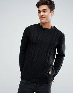 #ASOS - #Jack & Jones Jack & Jones Originals Knitted Sweater With Destroyed Hem Detail - Black - AdoreWe.com