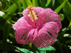 Fuchsia Pink Hibiscus Style French Beaded Flower by BeadedFleur, $25.00