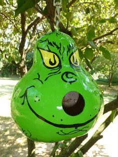 The GRINCH Hand Painted Gourd BIRDHOUSE - LOOk at  Our Baby GRinCh Birds in our Grinch Gourd Nest! Original Designs by Sugarbear Gourd Art