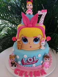 50 Ideias para Festa Lol Surprise 7 Happy Birthday Girls, Little Girl Birthday, Lol Doll Cake, Funny Birthday Cakes, Surprise Cake, Ballerina Cakes, Pear Cake, Lol Dolls, Occasion Cakes