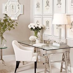 Glass desk in home office Home Office Space, Home Office Design, Home Office Furniture, Home Office Decor, House Design, Office Designs, Office Spaces, Work Spaces, Small Spaces
