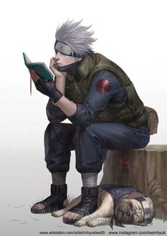 dog fingerless gloves forehead protector gloves grey hair hatake kakashi in-hyuk lee naruto naruto (series) open toe shoes pakkun reading scar shoes single glove sitting tree stump watermark web address - Image View - Kakashi Hokage, Naruto Uzumaki, Anime Naruto, Manga Anime, Art Naruto, Kakashi Sensei, Naruhina, Itachi, Boruto