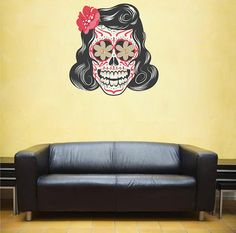 kcik97 Full Color Wall decal Skull female hair colors living room bedroom