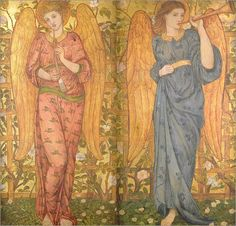John Roddam Spencer Stanhope - Angels with an oboe and a trumpet, 1861-62