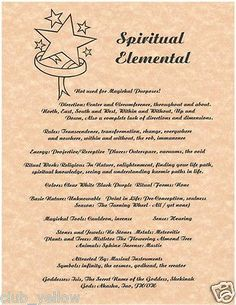 Spiritual Elemental Correspondence for Book of Shadows BOS Page Spirit Element