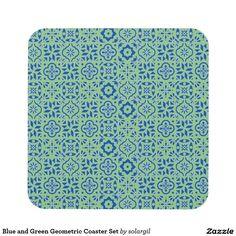 Blue and Green Geometric Coaster Set
