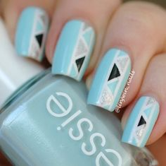Geometric Tape Mani ~ base polish Essie 'Mint Candy Apple', taped design painted using Orly 'White Out', Zoya 'Trixie' and Essie 'Licorice ' ~ by Lindsay Windecker