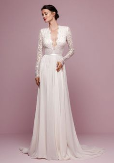 Joswen Dresses for Weddings and Special Occasions - A-line V-neck Sweep Train Chiffon Lace Wedding Dress With Sash Wedding Dress Sash, Luxury Wedding Dress, Blue Wedding Dresses, Cheap Wedding Dress, Bridal Dresses, Wedding Gowns, Girls Dresses, Lace Wedding, Wedding Venues