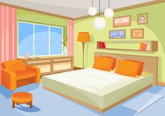 Buy Vector Cartoon Illustration Interior Orange-blue by vectorpocket on GraphicRiver. Vector cartoon illustration interior orange-blue bedroom, a living room with a bed, soft chair, stool, chest of drawe. Interior Paint Colors For Living Room, Interior Livingroom, Casa Anime, Episode Interactive Backgrounds, Anime Scenery Wallpaper, Cartoon House, Soft Chair, Orange Interior, French Interior