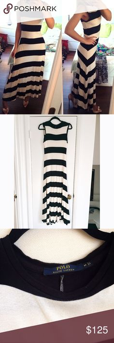 POLO RALPH LAUREN Cream & Black Stripe Maxi Dress! Classy, stretchers very well. Says size I am but also good for S, I'm size S and it fits me very well. Measures approximately shoulder to bottom 53.5 inches. It's got a few light stains at the Bach bottom area of the dress as well as one very slight stain at the front of the dress is shown on last picture. 67% Lyocell, 33% cotton. Very soft and super comfy to wear. Polo by Ralph Lauren Dresses Maxi