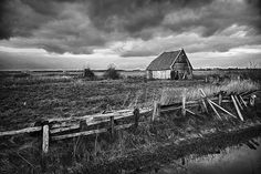 HDR Black & White picture of old barn at Texel