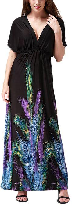 Women  Beach Dress Wrap Maxi Dress Boho Printed Plus Size - Black Feather -  CP11X9W8E6F 6721b45bc