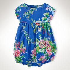 Floral Cotton Bubble Shortall - Infant Girls Outfits  - Ralph Lauren France