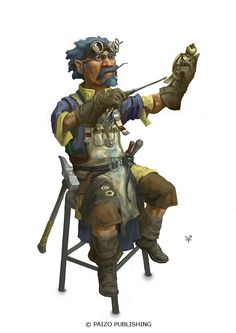 Gnome Tinkerer by Windmaker | NOT OUR ART - Please click artwork for source | WRITING INSPIRATION for Dungeons and Dragons DND Pathfinder PFRPG Warhammer 40k Star Wars Shadowrun Call of Cthulhu and other d20 roleplaying fantasy science fiction scifi horror location equipment monster character game design | Create your own RPG Books w/ www.rpgbard.com