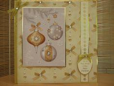 Handmade Christmas Card - Christmas Baubles   Kibbs Cards MISI Handmade Shop