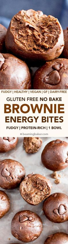 Gluten Free No Bake Brownie Energy Bites (V GF): a one bowl recipe for fudgy rich no bake bites that taste just like decadent brownies. Vegan Sweets, Healthy Sweets, Vegan Snacks, Protein Snacks, Healthy Snacks, Snack Recipes, Vegan Protein, Cooking Recipes, Healthy Recipes