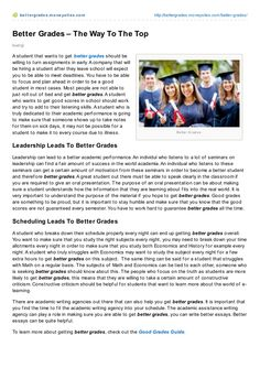 better-grades-the-way-to-the-top by Bruno Bürgi via Slideshare Good Student, Good Grades, How To Get, How To Plan, No Way, Get Well, To Focus, Articles, Wellness