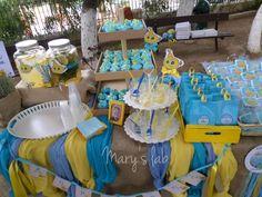 Το τραπέζι με τα γλυκά και τις μπομπονιέρες. Yellow Submarine, Christening, Chair, Home Decor, Recliner, Homemade Home Decor, Decoration Home, Chairs, Interior Decorating