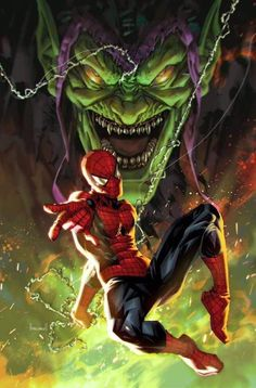 Marvel Comics. Comic Book Artwork • Spider-Man Vs Green Goblin by Kael Ngu. Follow us for more awesome comic art, or check out our online store www.7ate9comics.com Marvel Comics Art, Marvel Comic Universe, Comics Universe, Marvel Heroes, Marvel Villains, Comic Books Art, Comic Art, Book Art, Graphic Novels