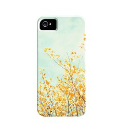 iPhone Case - yellow mint green nature - gold leaf branch - light teal iphone 5 case - cute iphone 4 case - iphone 4s cover
