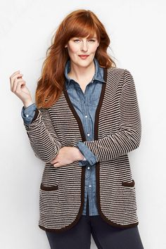 Women's Starfish French Terry Boyfriend Cardigan from Lands' End