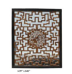 Chinese Ru Yi Flower Birds 2 Sides Wall Panel - Golden Lotus Antiques
