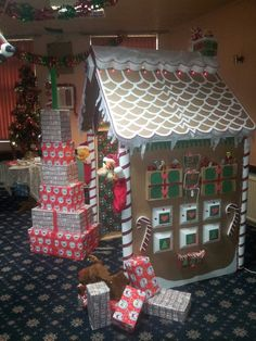Santa's grotto made for the big man with the beard at our childrens Christmas party, he was not disappointed!