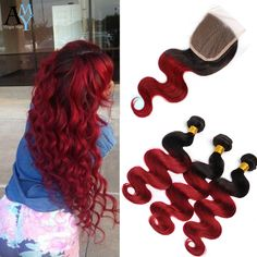 Cheap 3 Bundles Of Ombre Brazilian Hair With Closure Red Ombre Brazilian Hair Black And Burgundy Brazilian Hair Ombre Human Hair-in Human Hair Weft with Closure from Health & Beauty on Aliexpress.com | Alibaba Group