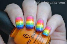 Nails by Kayla Shevonne: Rainbow Ruffle Nail Art Latest Nail Colours, Nail Colors, Creative Nail Designs, Creative Nails, Beautiful Nail Art, Gorgeous Nails, Cute Nails, Pretty Nails, Hair And Nails