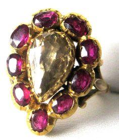 Mid-18th Century Rose Diamond & Ruby Ring Circa. 1760