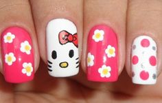 Uñas decoradas hello kitty, uñas decoradas hello kitty paso a paso. Clic y Síguenos,  #uñasdecolores #corunhas #uñasconbrillo