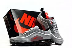 New Nike Air Max 97 KPU Vapormax 2018 Silver Grey Red Men Shoes Mens Winter Shoes, Winter Running Shoes, Nike Running Shoes Women, Nike Shoes, Mens Nike Air, Nike Air Vapormax, Nike Men, Red Sneakers, Air Max Sneakers