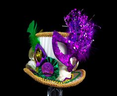 Mardi Gras Carnival Purple, Green, and Gold Mini Top Hat Fascinator, Alice in Wonderland, Mad Hatter Tea Party, Victorian Derby by TheWeeHatter on Etsy https://www.etsy.com/listing/121998345/mardi-gras-carnival-purple-green-and