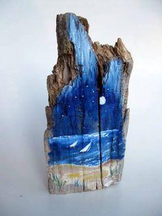 driftwood decor | Painted Driftwood, Beach Decor, Coastal Decor, Nautical, Sailboats ...