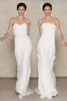 Oscar de la Renta wedding dresses 2011 Fall/Winter Bridal collection - embroidered guipure strapless gown with crinkle chiffon skirt and pink grosgrain ribbon waist detail, strapless crinkle chiffon gown with bias band detail
