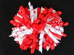 Red and White Hearts Corker Hair Bow with headband, Girls handmade #Handmade