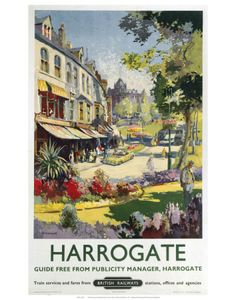 Canvas Print (other products available) - Poster produced by British Railways (BR) to promote rail services to the Yorkshire spa town of Harrogate. Artwork by Jack Merriott - Image supplied by National Railway Museum - Canvas Print made in Australia Old Posters, Train Posters, Railway Posters, Retro Posters, Yorkshire Day, North Yorkshire, Yorkshire England, Poster Size Prints, Art Prints