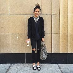 Black-Jeans-Top-Sweater-Loafers-Statement-Necklace