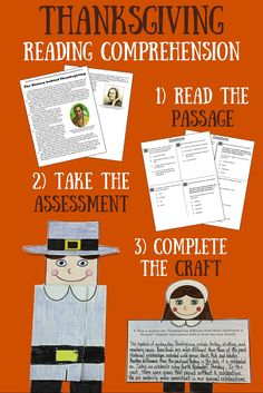 """GRADES 3-5 - We've put a twist on reading comprehension practice by incorporating a foldable craft.....the perfect brain break after the hard work is done!  The students will be required to do a """"close read"""" of the informational text entitled """"The History Behind Thanksgiving"""". The reading is followed by 8 multiple choice questions that reflect the Common Core."""