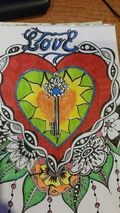 Heart doodle flowers