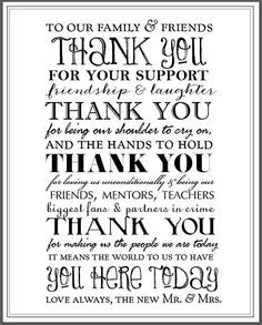 Thank You Typography Reception Sign by KM Paperie